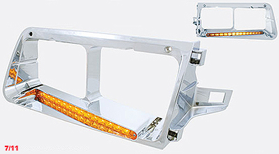 Freightliner FLD LED Headlight Bezel-19 LED's-Amber or Clear Lens